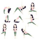 Poses da ioga dos desenhos animados Imagem de Stock
