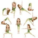 Poses da ioga dos desenhos animados Fotografia de Stock Royalty Free