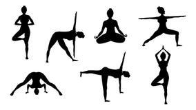 Poses da ioga da silhueta ilustração do vetor