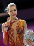 Poses de Anna POGORILAYA com medalha de bronze Foto de Stock Royalty Free