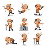 Poses de caractère de vieil homme de bande dessinée illustration stock