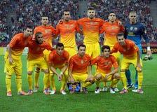 Poses de FC Barcelona avant un jeu Photographie stock
