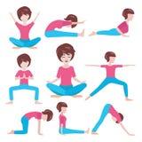Poses de yoga de femmes réglées Images libres de droits