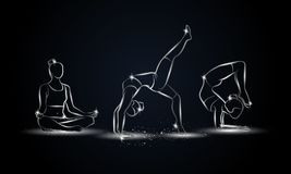 Poses de yoga réglées Illustration linéaire métallique de yoga pour la bannière, le fond et l'insecte de sport Images stock