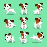 Poses do cão do terrier de russell do jaque do personagem de banda desenhada ilustração do vetor