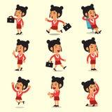 Poses do caráter da mulher de negócios dos desenhos animados Imagens de Stock