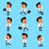 Poses do caráter do homem de negócios dos desenhos animados Foto de Stock Royalty Free