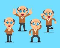 Poses do caráter do homem superior dos desenhos animados Foto de Stock Royalty Free