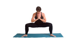 Poses e exercícios da ioga foto de stock