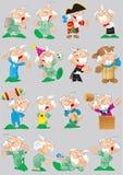 Poses e imagens do avô dos desenhos animados ilustração royalty free