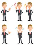 6 poses and gestures of businessmen. The images of 6 poses and gestures of a young businessman stock illustration