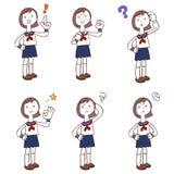 Poses and gestures of schoolgirls wearing uniforms, Sailor suit vector illustration