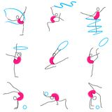 Poses of Gymnastic. Illustration of set of different poses of gymnastic Stock Photo