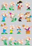 Poses and images of cartoon grandfather Royalty Free Stock Images
