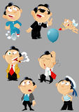 Poses and images of cartoon men Stock Photo