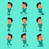 Poses masculines de caractère d'infirmière de bande dessinée illustration de vecteur
