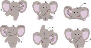 6 poses of nice cute elephant. Cartoon style. Vector illustration stock illustration
