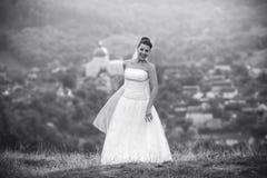 Poses novas bonitas da noiva para a câmera Imagens de Stock Royalty Free