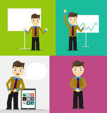 Poses of young businessmen, presentation white Royalty Free Stock Photo