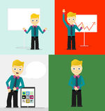 Poses of young businessmen, presentation white. Poses of young businessmen, presentation on white board, leaning on tablet concept and confident positive pose Royalty Free Stock Image