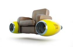 Posez le taxi avec une engine de l'avion Image stock