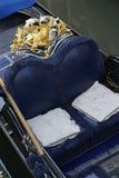 Posh Blue and Gold Venetian Gondola Venice Italy Stock Photos