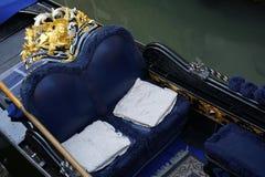 Posh blue Venetian gondola Venice Italy Stock Image