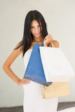Posh brunette shopper. Royalty Free Stock Photography