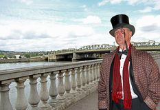 Posh city gent on bridge Royalty Free Stock Photo