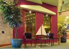 Posh lobby with sailboat Stock Image