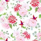 Posh motley dahlia, rose, hydrangea, fuchsia, hibiscus seamless. Garden posh motley dahlia, pink wild rose, hydrangea, red fuchsia, white layered hibiscus, green stock illustration