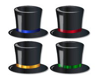 Posh Top Hats. A collection of 4 posh top hats over a white background Stock Photography