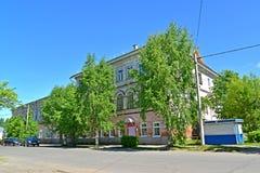 POSHEKHONJE, RUSLAND De bouw van de bibliotheek vroeger voordelig huis van kinderen van de tweede helft van de 19de eeuw Yaroslav stock fotografie