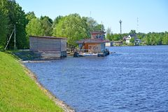POSHEKHONJE, RUSSIA. Point of the state inspectorate for small size vessels of the Ministry of Emergency Situations on the river b. POSHEKHONJE, RUSSIA - MAY 28 stock image