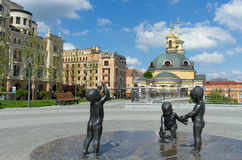 Poshtova Square in Kiev. KIEV,UKRAINE-MAY 20,2017:Sculptures of children to the founders of the city of Kiev on Poshtova Square in Kiev, Ukraine royalty free stock photography