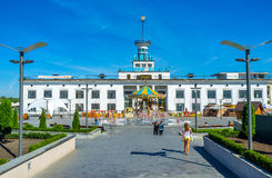 The Poshtova Square in Kiev. KIEV, UKRAINE - SEPTEMBER 8, 2016: The facade of the River Port and Amusement park in Postal Poshtova Square, located at the bank of royalty free stock images