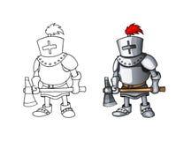 Posição completa do terno da armadura do cavaleiro dos desenhos animados com vetor colorido do caráter do machado fotografia de stock royalty free