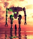 Posição da menina no mar que olha a um robô gigante ilustração do vetor