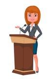 Posição da mulher de negócio dos desenhos animados Imagem de Stock