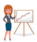 Posição da mulher de negócio dos desenhos animados Foto de Stock Royalty Free