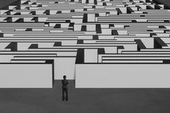 Posição do homem de negócios e enfrentar a estrutura enorme do labirinto Fotos de Stock Royalty Free