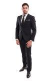 Posição elegante do homem de negócio isolada no fundo branco Imagens de Stock Royalty Free