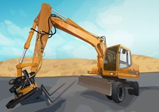 Posição grande da máquina escavadora imagem de stock royalty free