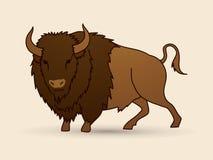 Posição grande do búfalo ilustração royalty free