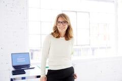 Posição madura executiva da mulher de negócios no escritório foto de stock royalty free