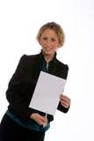 Posição nova da mulher de negócios Imagens de Stock