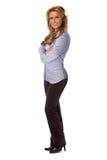 Posição segura da mulher de negócio Fotografia de Stock Royalty Free