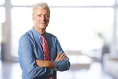 Posição superior do homem de negócios com os braços cruzados no escritório fotos de stock