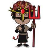 Caráter da criança no traje do diabo ilustração royalty free