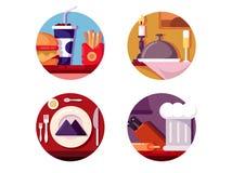 Posiłek w kawiarni lub restauraci ilustracji